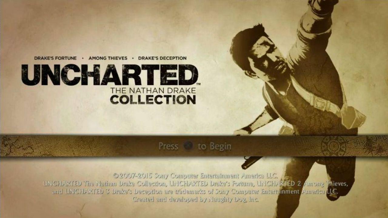 Uncharted The Nathan Drake Collection: schermate menu e dimensione su disco