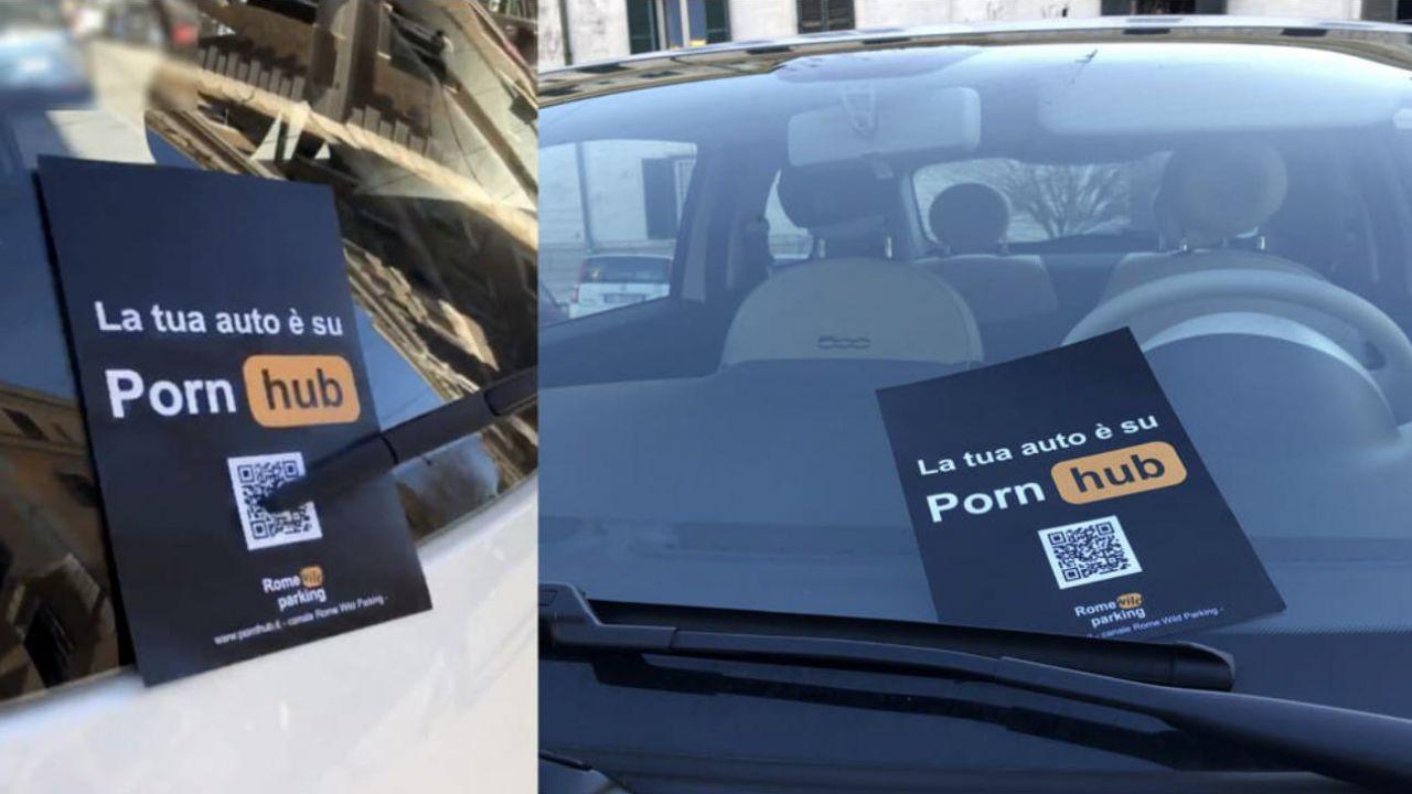 Volantini di PornHub sulle auto parcheggiate male a Roma: l'iniziativa è virale