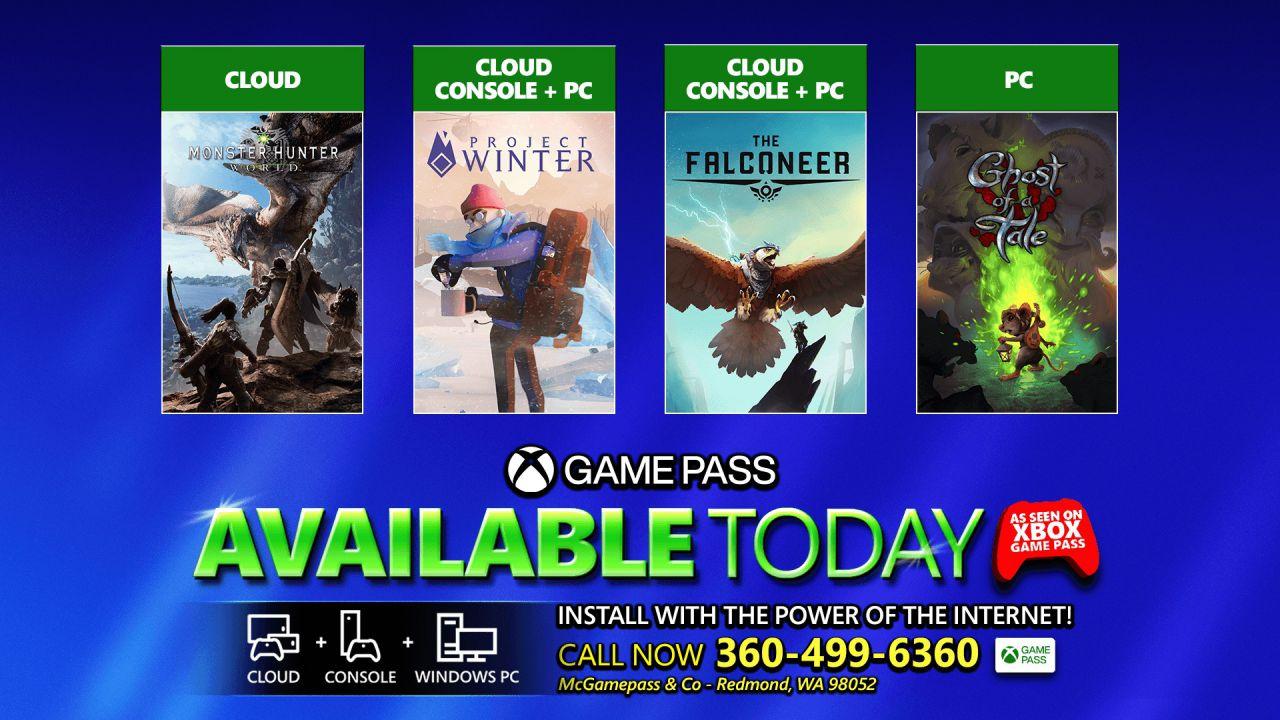 Xbox Game Pass: i nuovi giochi del 4 febbraio, a sorpresa pure Monster Hunter World