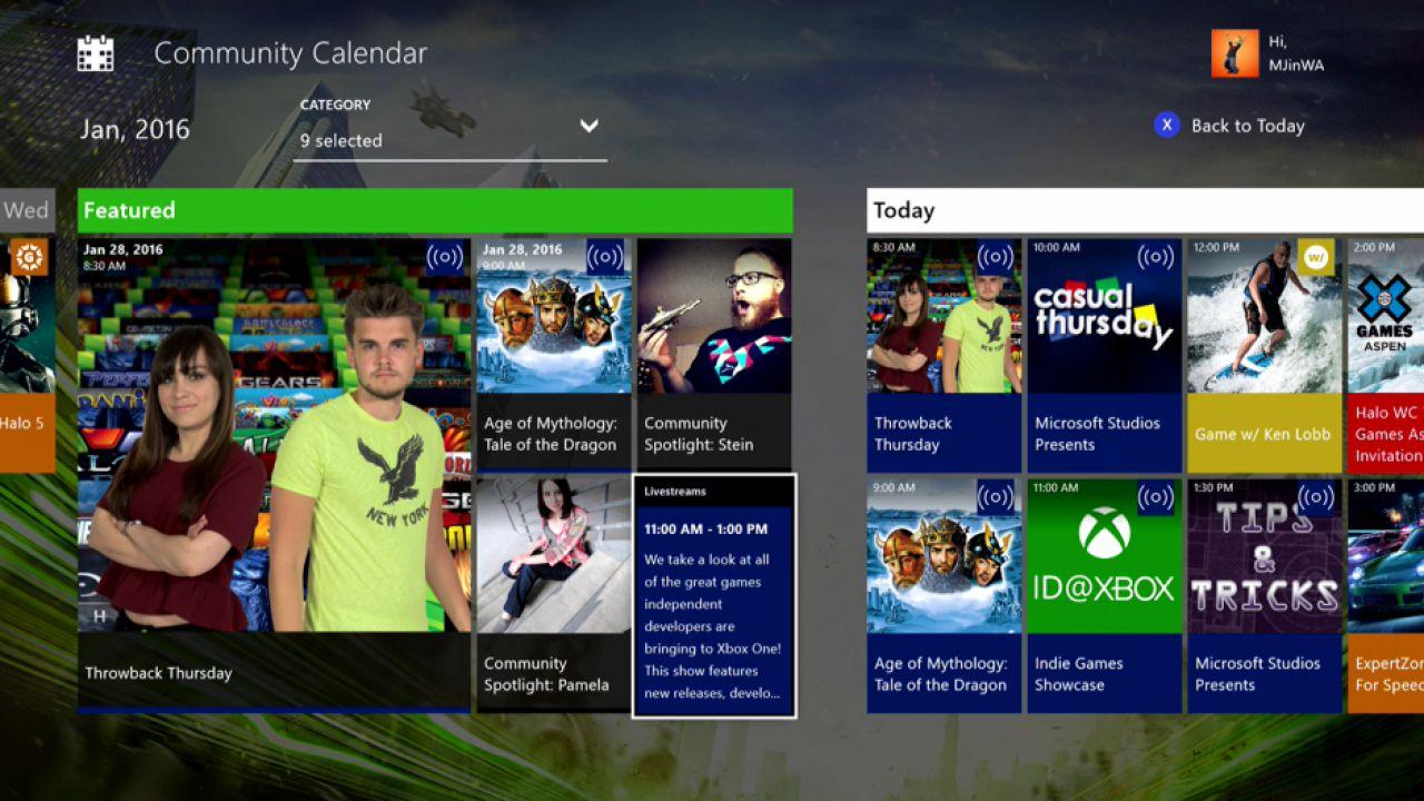 Xbox One: disponibile l'app gratuita Community Calendar