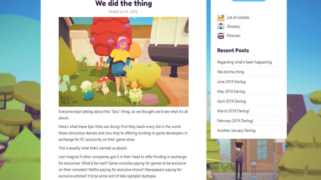 Le esclusive dell'Epic Game Store e il caso Ooblets